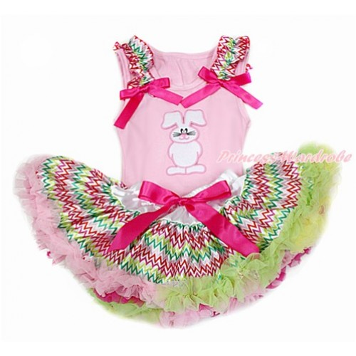 Easter Light Pink Baby Pettitop with Rainbow Wave Ruffles & Hot Pink Bow with Bunny Rabbit Print with Rainbow Wave Newborn Pettiskirt BG133
